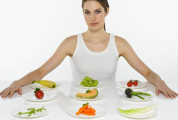 Woman with Variety of Fruits and Vegetables